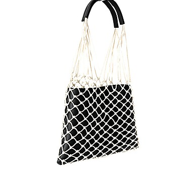 cheap Going to the beach-Women's Zipper Tote Straw Bag Straw Black / Almond / Brown