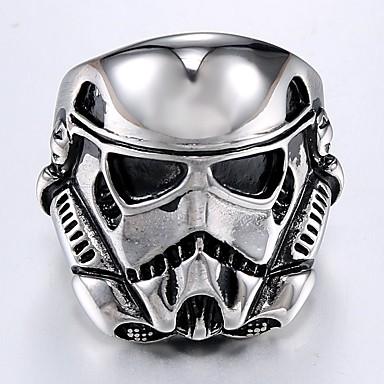 voordelige Herensieraden-Heren Ring 1pc Zilver Titanium Staal Rond Onregelmatig Stijlvol Vintage Punk Dagelijks Straat Sieraden Vintagestijl Stijlvol Gegraveerd Masker Cool
