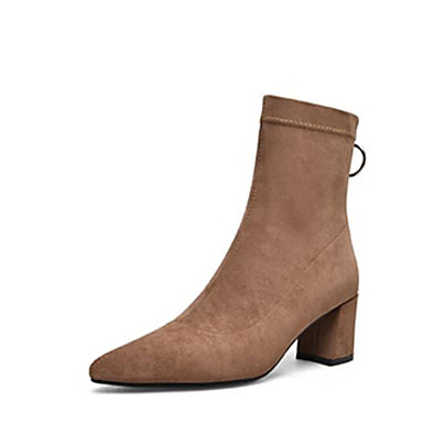 Femme Femme Femme Fashion Boots Tissu élastique Automne Bottes Talon Bottier Bout fermé Bottine / Demi Botte Noir / Brun Foncé / Kaki 6b99cf