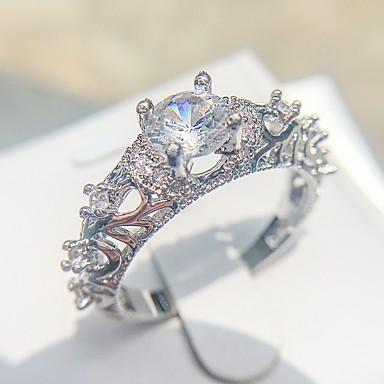 billige Motering-Dame Ring 1pc Sølv Kobber Platin Belagt Fuskediamant Fire tenger damer Romantikk Elegant Bryllup Engasjement Smykker HALO Kjærlighed Smuk
