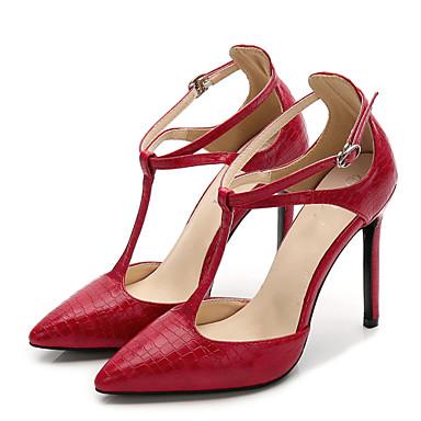 022cd5d2b61d Dame Strappy Stacked Heels PU Sommer Sød Hæle Stilethæle Spidstå Spænde  Sort   Rød   Mandel   Fest   aften