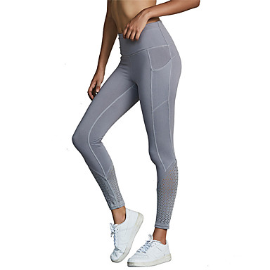 560c534b42 Women's Pocket Yoga Pants Sports Solid Color Spandex Mesh Leggings Zumba  Dance Running Activewear Breathable Anatomic Design Compression Push Up  High ...