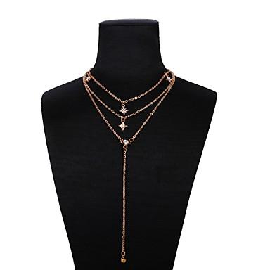 abordables Collier-Collier Multirang Femme Classique Etoile dames Romantique Mode Dorée 33+5 cm Colliers Tendance Bijoux 1pc pour Quotidien Festival