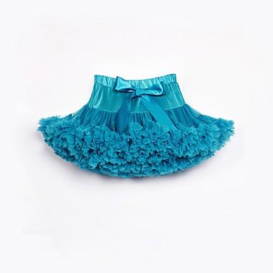 baratos Saias para Meninas-Infantil Bébé Para Meninas Activo Moda de Rua Feriado Aniversário Sólido Laço Multi Camadas Pregueado Saia Azul Claro / Com Transparência