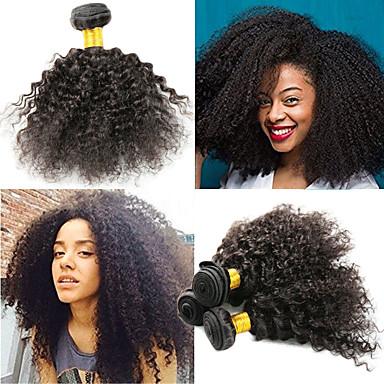baratos Extensões de Cabelo Natural-3 pacotes Cabelo Indiano Afro Kinky Kinky Curly 10A Cabelo Natural Remy Extensões de Cabelo Natural 8-26 polegada Natural Tramas de cabelo humano Melhor qualidade Nova chegada Venda imperdível