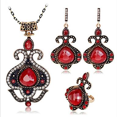 voordelige Dames Sieraden-Dames Rood Robijn Vintage ketting Retro Dames Vintage Bohémien Afrikaanse oorbellen Sieraden Rood / Blauw Voor Feest Dagelijks 1 set / Oorbellen