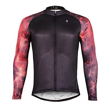 ILPALADINO Muškarci Dugih rukava Biciklistička majica Crn Bicikl Biciklistička majica Majice Ugrijati Podstava od flisa Ultraviolet Resistant Sportski Zima Elastan Runo Brdski biciklizam biciklom na