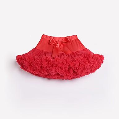 baratos Saias para Meninas-Infantil Bébé Para Meninas Activo Básico Feriado Aniversário Estampa Colorida Arco-Íris Laço Multi Camadas Pregueado Saia Vermelho