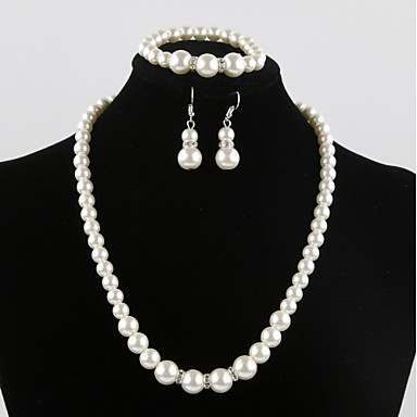 c67e3ab67 Women's Bridal Jewelry Sets Classic Sweet Elegant Imitation Pearl Earrings  Jewelry White For Wedding Party 1 set