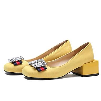 رخيصةأون أحذية الزفاف-نسائي أحذية الراحة فرو ظبي / مجهرية الربيع كعوب كتلة كعب حذاء يغطي أصبع القدم أسود / أصفر / أحمر / زفاف / مناسب للبس اليومي