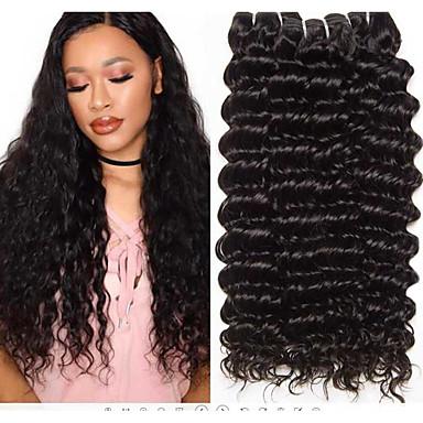 baratos Extensões de Cabelo Natural-3 pacotes Cabelo Brasileiro Deep Curly Cabelo Virgem 100% Remy Hair Weave Bundles Peça para Cabeça Cabelo Humano Ondulado Cuidados com Cabelo 8-28 polegada Côr Natural Tramas de cabelo humano Macio