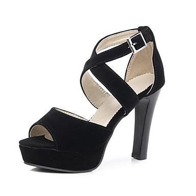 Žene PU Ljeto Sandale Stiletto potpetica Crn / Badem