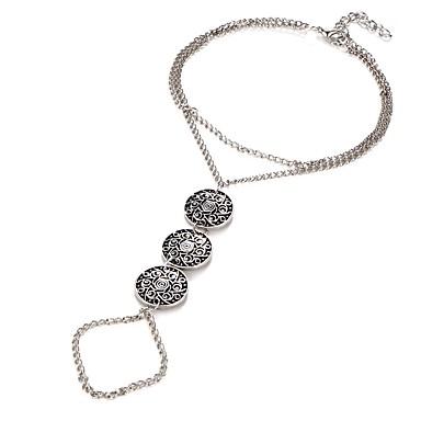 billige Smykker & Klokker-Dame Barfotsandaler Vintage Stil Blomst damer Punk Ankel Smykker Sølv Til Bikini Cosplay Kostumer