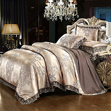 Duvet Cover Sets Luxury Silk / Cotton Blend Reactive Print 4 Piece Bedding Sets / >800 / 4pcs (1 Duvet Cover, 1 Flat Sheet, 2 Shams) queen