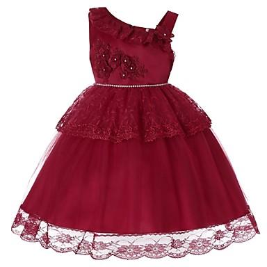 رخيصةأون ملابس الأميرات-فستان طول الركبة بدون كم لون سادة مناسب للحفلات / مناسب للعطلات رياضي Active / حلو للفتيات أطفال / طفل صغير