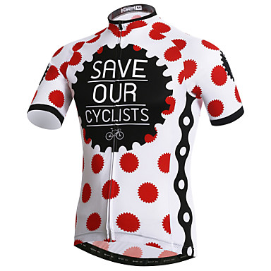 530d4c5d5 XINTOWN Men s Short Sleeve Cycling Jersey - Red and White Polka Dot Bike  Jersey Top Breathable Quick Dry Ultraviolet Resistant Sports Elastane  Terylene ...