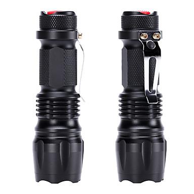 abordables Lampes & Lanternes de Camping-U'King Lampes Torches LED 600 lm Cree® Q5 Émetteurs 3 Mode d'Eclairage Fonction Zoom Portable Usage quotidien Noir / Alliage d'Aluminium