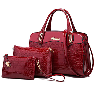 4a87954f62 Women's Bags PU(Polyurethane) Bag Set 3 Pcs Purse Set Crocodile Black / Dark  Blue / Wine / Bag Sets