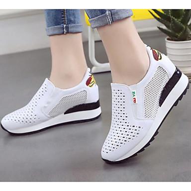 Kadın's Ayakkabı Suni Deri Yaz Mokasen & Bağcıksız Ayakkabılar Dolgu Topuk Günlük için Pembe ve Beyaz / Siyah / Beyaz / Beyaz ve Yeşil