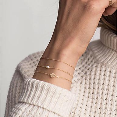 abordables Bracelet-Bracelet ID Femme Chaîne unique Lettre dames Branché Mode Elégant Bracelet Bijoux Dorée Rond pour Quotidien Travail