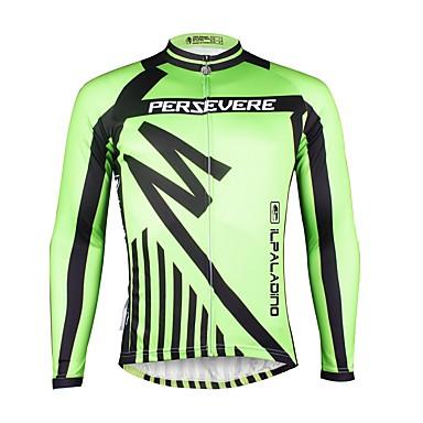 ILPALADINO Muškarci Dugih rukava Biciklistička majica Zelen Bicikl Biciklistička majica Majice Ugrijati Podstava od flisa Ultraviolet Resistant Sportski Zima Elastan Runo Brdski biciklizam biciklom