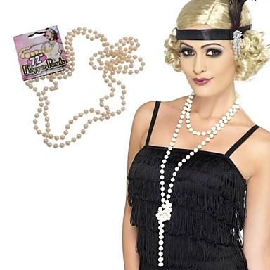 The Great Gatsby Čarlston Vintage 1920s Ogrlice Traka za kosu u stilu 20-ih Žene Kostim Šeširi Igazgyöngy nyaklánc Crn Vintage Cosplay Party Prom Bez rukávů