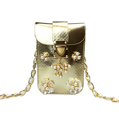 4d5dc5a5e447 Women s Bags PU(Polyurethane) Mobile Phone Bag Crystals   Flower Solid Color  Gold   Silver