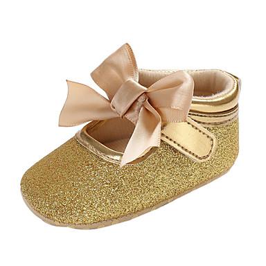 voordelige Babyschoenentjes-Meisjes Comfortabel / Eerste schoentjes PVC Laarzen Peuter (9m-4ys) Strik / Gesp / Magic tape Zwart / Zilver / Roze Herfst winter