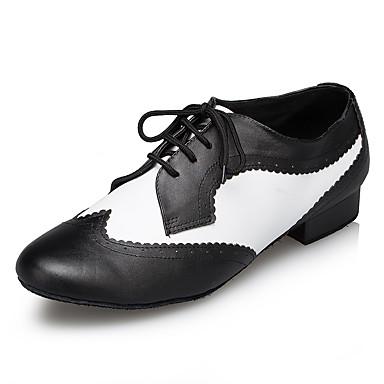 baratos Shall We® Sapatos de Dança-Homens Sapatos de Dança Pele Sapatos de Dança Moderna Recortes Têni Salto Grosso Preto / Branco