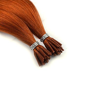 voordelige Extensions van echt haar-Neitsi Samensmelten / I-tip Extensions van echt haar Recht Echt haar Extentions van mensenhaar Braziliaans haar Zwart Bruin 25st Feest Dames Platina Blond