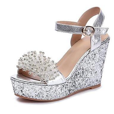 voordelige Damessandalen-Dames Sandalen met sleehak Schapenleer Zomer Sandalen Sleehak Zilver