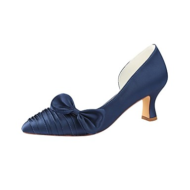 f7b3a4d4dfbd Women s Pumps Satin Summer Wedding Shoes Chunky Heel Pointed Toe Bowknot  Dark Blue   Party   Evening