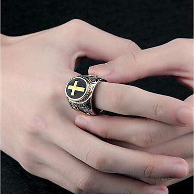 voordelige Herensieraden-Heren Ring Zegelring 1pc Zilver Titanium Staal Ovaal Punk Dagelijks Sieraden 3D Kruis Circle Cross