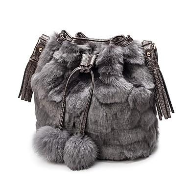 f59b241c1f Women s Bags Faux Fur Shoulder Bag Feathers   Fur Solid Color Black   Gray    Brown