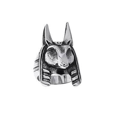 voordelige Heren Ring-Heren Sculptuur Ring Titanium Staal Vintage Vakantie Initial Zigeuner Modieuze ringen Sieraden Goud / Zwart / Zilver Voor Straat Bar 7 / 8 / 9 / 11 / 12