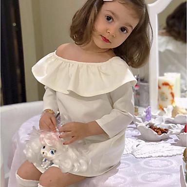رخيصةأون ملابس الفتيات-فستان فوق الركبة كم طويل كشكش لون سادة مناسب للحفلات / مناسب للعطلات رياضي Active / حلو للفتيات طفل صغير