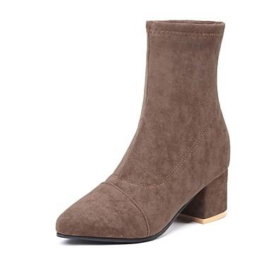 Dame Fashion Boots PU / Elastisk stof Efterår vinter Støvler Kraftige Hæle Støvletter Sort / Brun