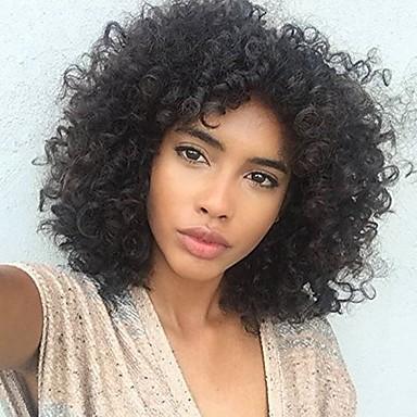 שיער ראמי תחרה מלאה חזית תחרה פאה תספורת אסימטרית Rihanna בסגנון שיער ברזיאלי אפרו קינקי Kinky Curly שחור פאה 150% 180% צפיפות שיער איכות מעולה מכירה חמה מגניב סִלְסוּל נוער טבעי שחור בגדי ריקוד נשים