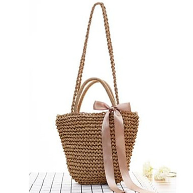 cheap Going to the beach-Women's Sashes / Ribbons Tote Straw Bag Straw Black / Coffee