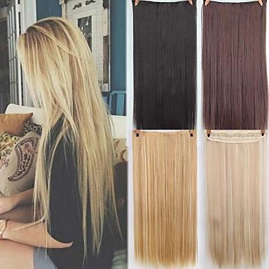 hesapli Sentetik Ek Saçlar-Sentetik Genişlemeler Düz Sentetik Saç 22 inç Ek saç Klips İçeri / Dışarı 1 Parça sentetik İnfertilite Kadın's Günlük Giyim