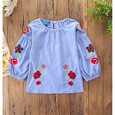 baratos Blusas para Meninas-Infantil Bébé Para Meninas Activo Doce Diário Feriado Plantas Floral Bordado Estampado Manga Longa Altura dos Joelhos Algodão Blusa Azul