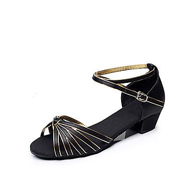 abordables Chaussures de Samba-Femme Chaussures de danse Satin / Similicuir Chaussures Latines / Salon Talon Talon Bottier Non Personnalisables Noir et Or / EU39