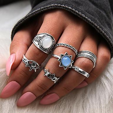 billige Motering-Dame Ring Set / Multi-fingerring / Midiringe Syntetisk Opal 1set Sølv Harpiks / Legering Sirkelformet Statement / damer / Personalisert Gave / Daglig / Gate Kostyme smykker / Stjerne