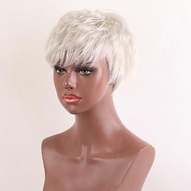 저렴한 가발 & 헤어 연장-인간의 머리카락없는 Capless 가발 인모 자연스런 웨이브 픽시 컷 / 짧은 머리 형 2019 년 / 뱅포함 할리 베리 헤어 스타일 스타일 사이드 파트 / 흑인 가발 짧음 기계 제작 가발 여성용