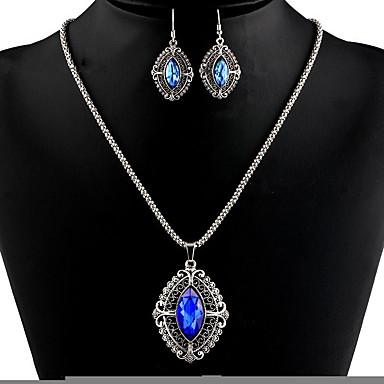 Žene Sintetički ametist Viseće naušnice Ogrlica Ispustiti dame Stilski Klasik Naušnice Jewelry Dark Blue / Svjetlosmeđ Za Party Dnevno 1set