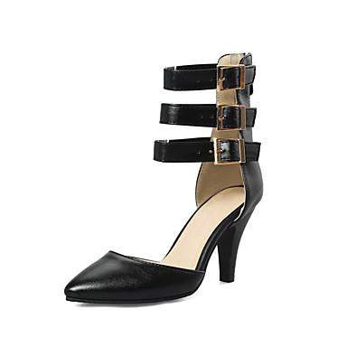 Kadın's Ayakkabı PU İlkbahar & Kış Topuklular Kalın Topuk Açık Uçlu Düğün / Parti ve Gece için Toka Siyah / Bej / Kırmzı