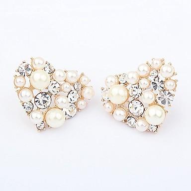 Žene Sitne naušnice Srce dame Stilski Klasik Imitacija bisera Umjetno drago kamenje Naušnice Jewelry Zlato Za Dnevno 1 par