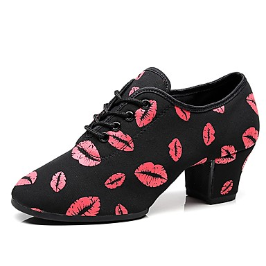 ae0b78144 Women's Elastic Fabric Jazz Shoes Oxford / Sneaker Thick Heel Customizable  Black / Red / Performance / Practice