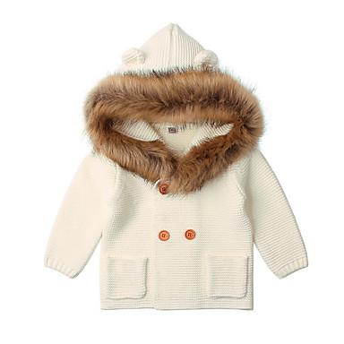 levne Dětské bundičky a kabátky-Dítě Dívčí Základní Denní Jednobarevné Dlouhý rukáv Standardní Bavlna Blejzry Bílá / Toddler