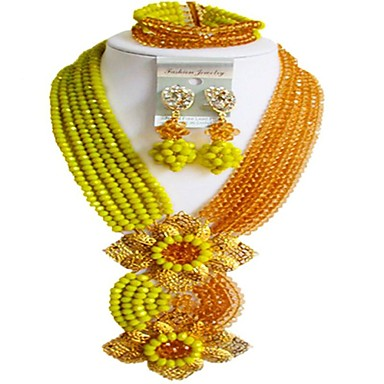7fa5389a7 Women's Layered Jewelry Set Austria Crystal Gourd Ladies, Fashion Include  Beaded Necklace Red / Green / Hot Pink For Festival / Earrings #07002137